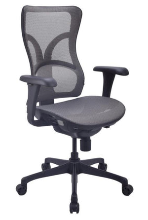 Satara Multi-Function Mid Back Task Chair with Mesh Seat and Back Private Spaces Gray