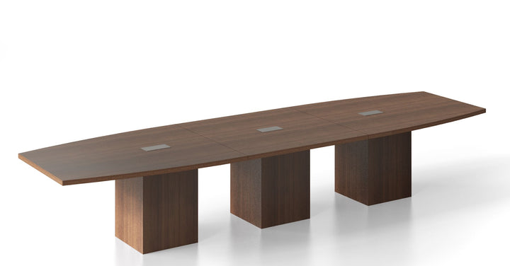 Spyglass Boat Shaped 4' x 14' Conference Table / Square Cylinder Base Private Spaces Modern Walnut