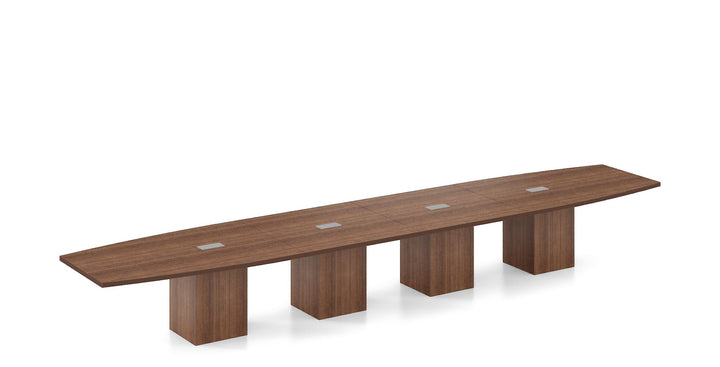 Spyglass Boat Shaped 4' x 20' Conference Table / Square Cylinder Base Private Spaces Modern Walnut
