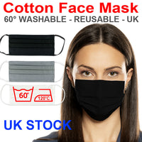 Black Cottona Face Mask Shop Reusable Washable Unisex