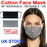 Wholesale Face Mask 100 pcs Set - GREY - Washable Reusabe Unisex