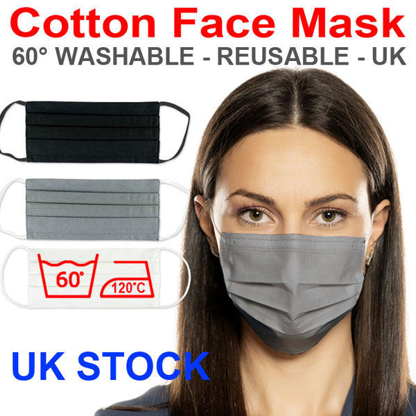 Cotton Face Mask - GREY - 3 pcs - Washable Reusabe Unisex - UK STOCK