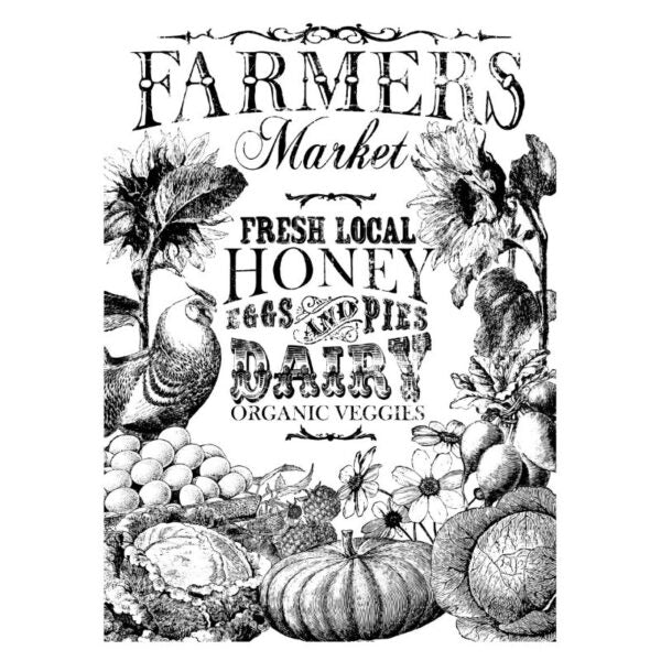 Iron Orchid Designs Decor Paintable Image Transfer - Farmer's Market