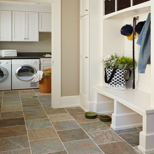 Mudroom Designs Gold White Quartizte Flooring