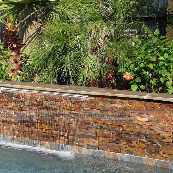 california gold ledger panel outdoor water feature