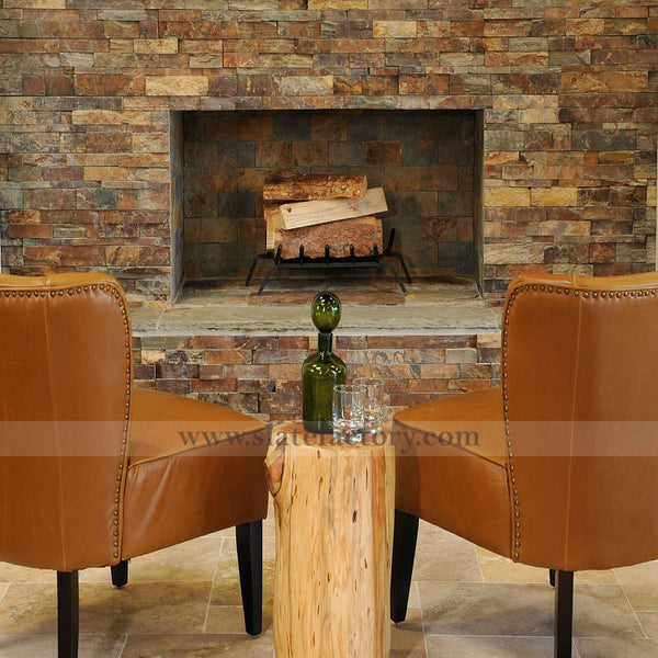 california gold ledger stone fireplace surround