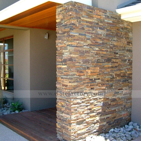 california gold stacked stone wall siding