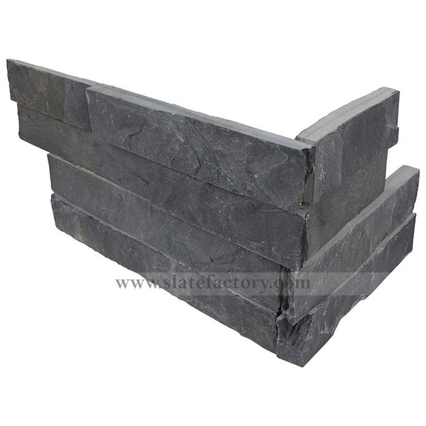 Charcoal Stacked Stone Corner