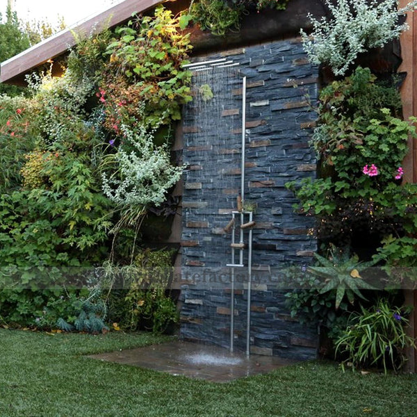 charcoal rust ledger stone panel outdoor shower