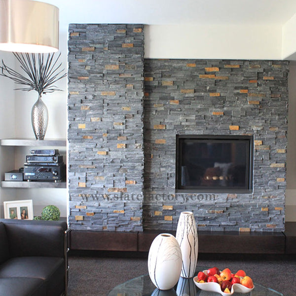 Charcoal Rust Stacked Stone Panel Fireplace Surround