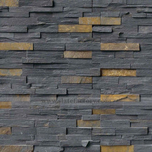 Charcoal Rust Stacked Stone Panels Split Face 6x24