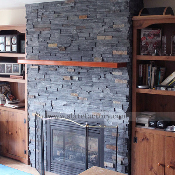 Charcoal Rust Stacked  Stone Veneers Fireplace Surround