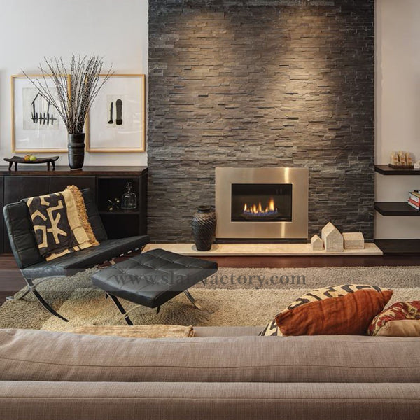 Charcoal Slate Ledger Stone Panels Fireplace Around