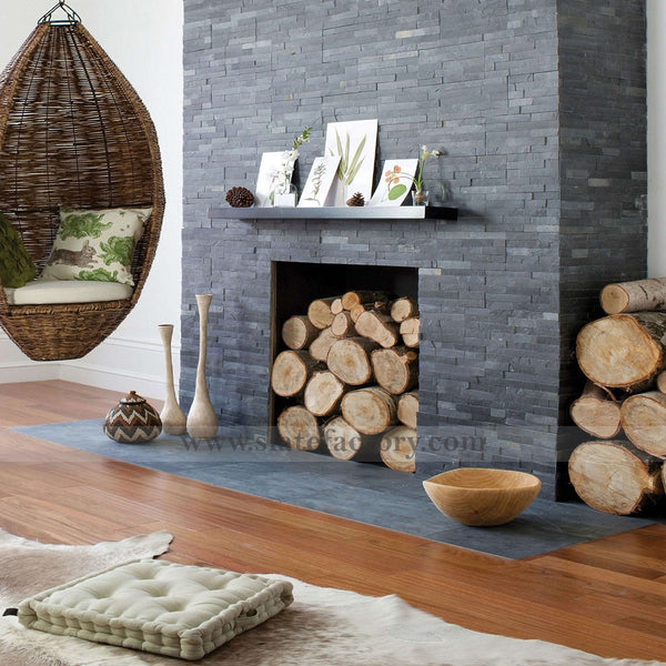 Charcoal Stacked Stone Veneer Fireplace Surround