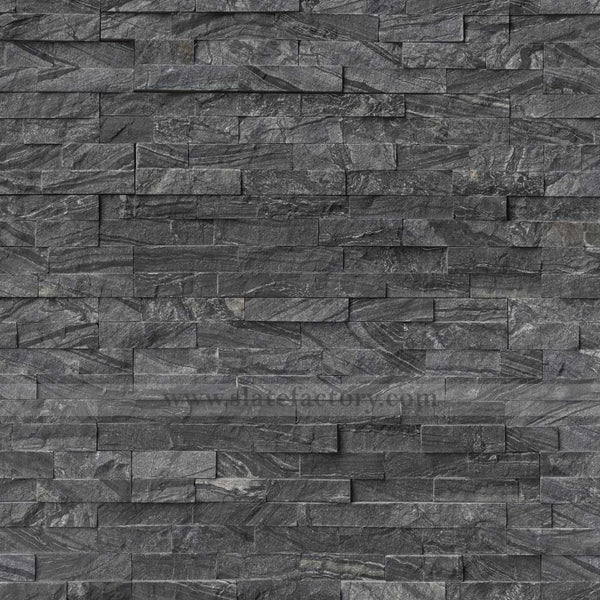 glacial black stacked stone panel 6x24
