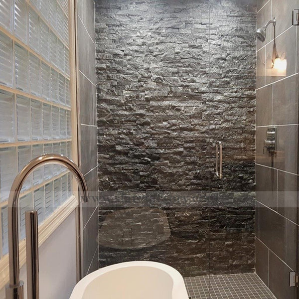 glacial black stacked stone panels shower room