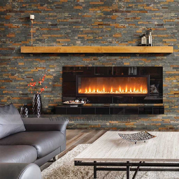 gold rush ledger panels fireplace facade