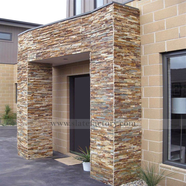 gold rush stacked stone veneer wall facade