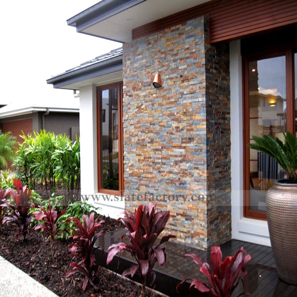 gold rush stacked stone veneers home facade
