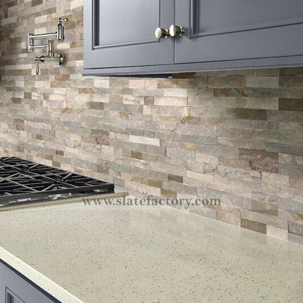 golden honey stacked stone veneer backsplash
