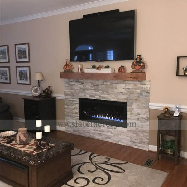 golden honey stacked stone veneer tv wall
