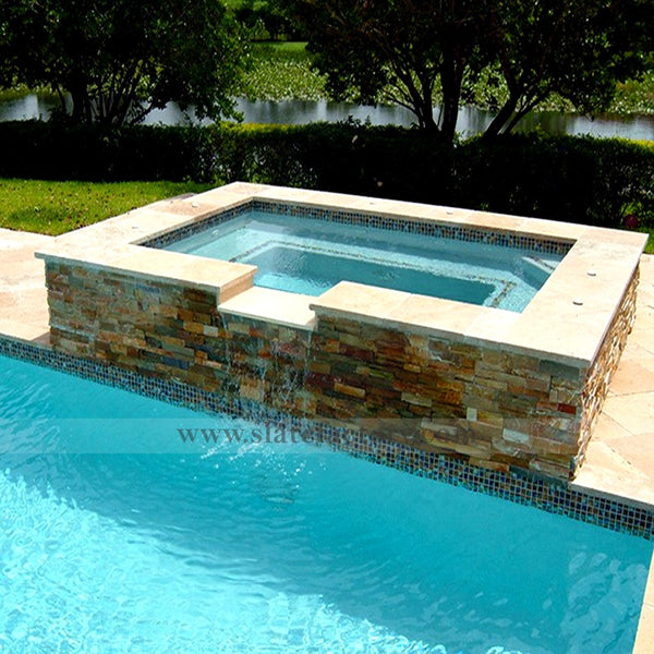 golden white ledger panels water feature