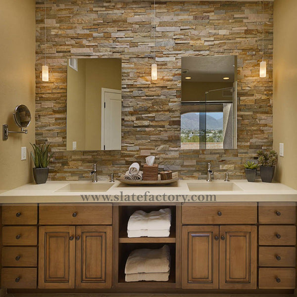 golden white ledger stone veneer vanity backsplash