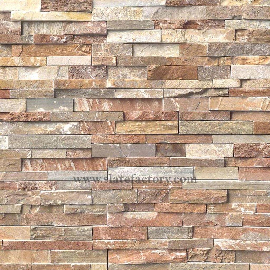 golden white stacked stone panels
