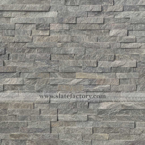 Silver Gray Stacked Stone Panels 6X24