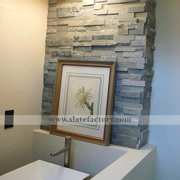 Silver Grey Ledger Panel Vanity Backsplash