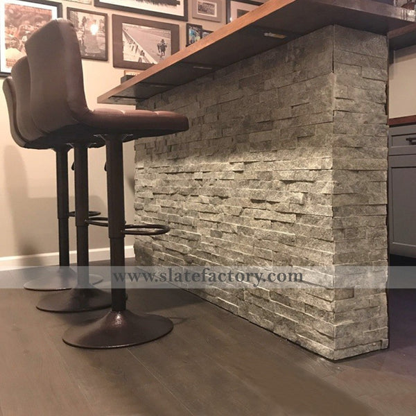 Silver Grey Stacked Stone Veneer Bar Decorate