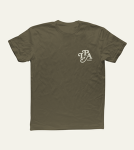 Monogram Tee in Military Green