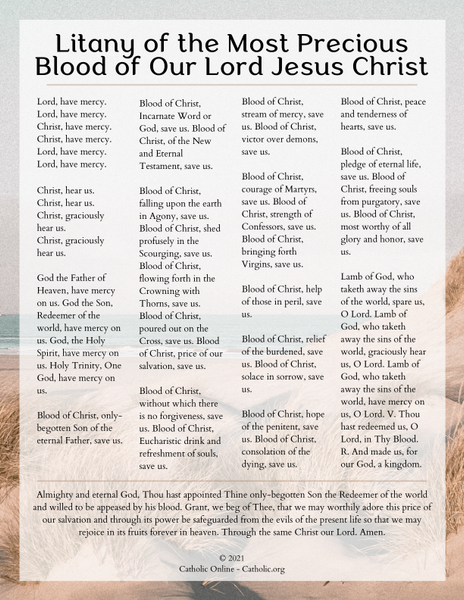 Litany of the Most Precious Blood of Our Lord Jesus Christ