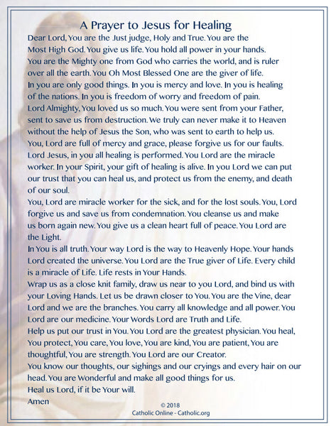 A Prayer to Jesus for Healing (PDF)