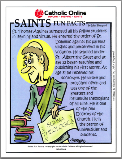 St. Thomas Aquinas - Saints Fun Facts