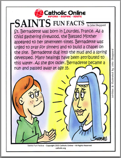 St. Bernadette - Saints Fun Facts