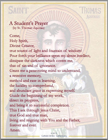 A Student's Prayer (by St. Thomas Aquinas)