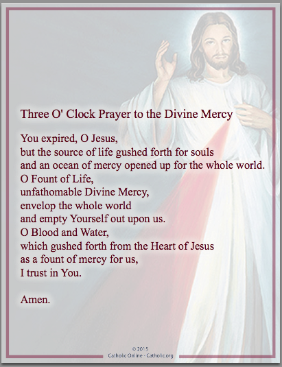 Three O' Clock Prayer to the Divine Mercy
