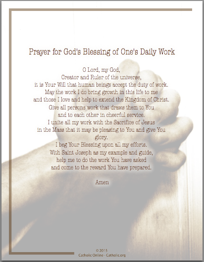Prayer for God's Blessing of One's Daily Work