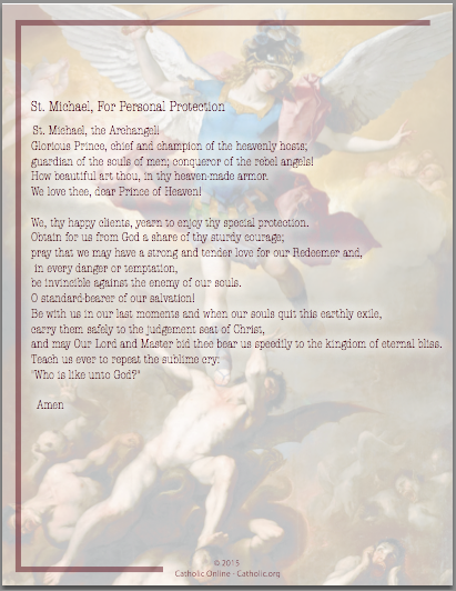 St. Michael, For Personal Protection Prayer