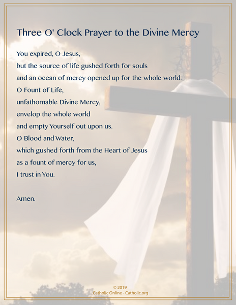 Three O-clock Prayer to the Divine Mercy