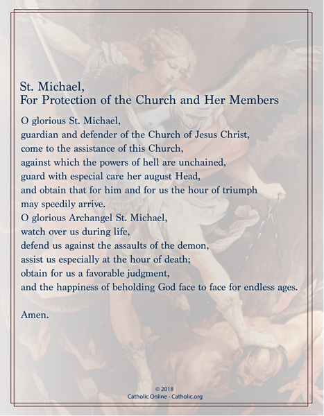 St. Michael, For Protection of the Church and Her Members Prayer