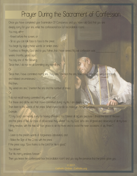 Prayer During the Sacrament Confession