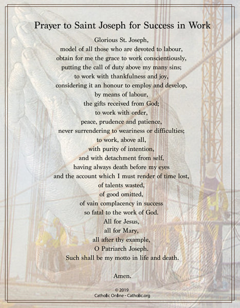 Prayer to St. Joseph for Success in Work (PDF)