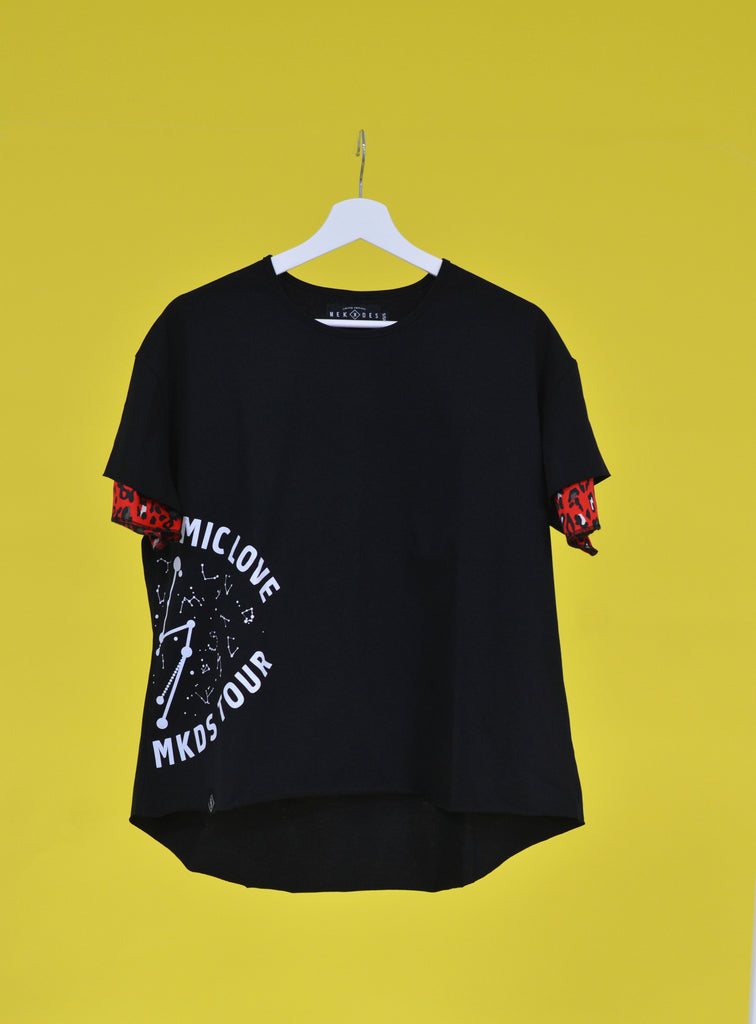 Camiseta COSMIC LOVE MKDS TOUR manga doble negro & print