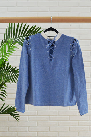 Camiseta Lace-up Azul & blanco