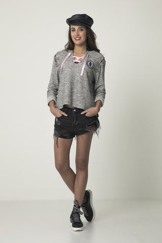 Camiseta ML Lace-up rosa