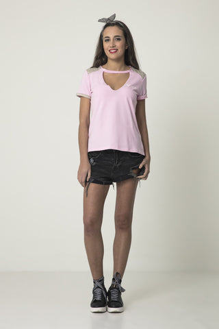 Camiseta cut out GIRL GANG rosa