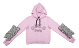 SUDADERA ROSA GIRLS MANGA FRUNCIDA TWEED