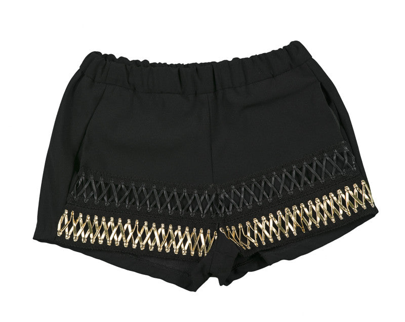 SHORT LACE UP NEGRO & ORO